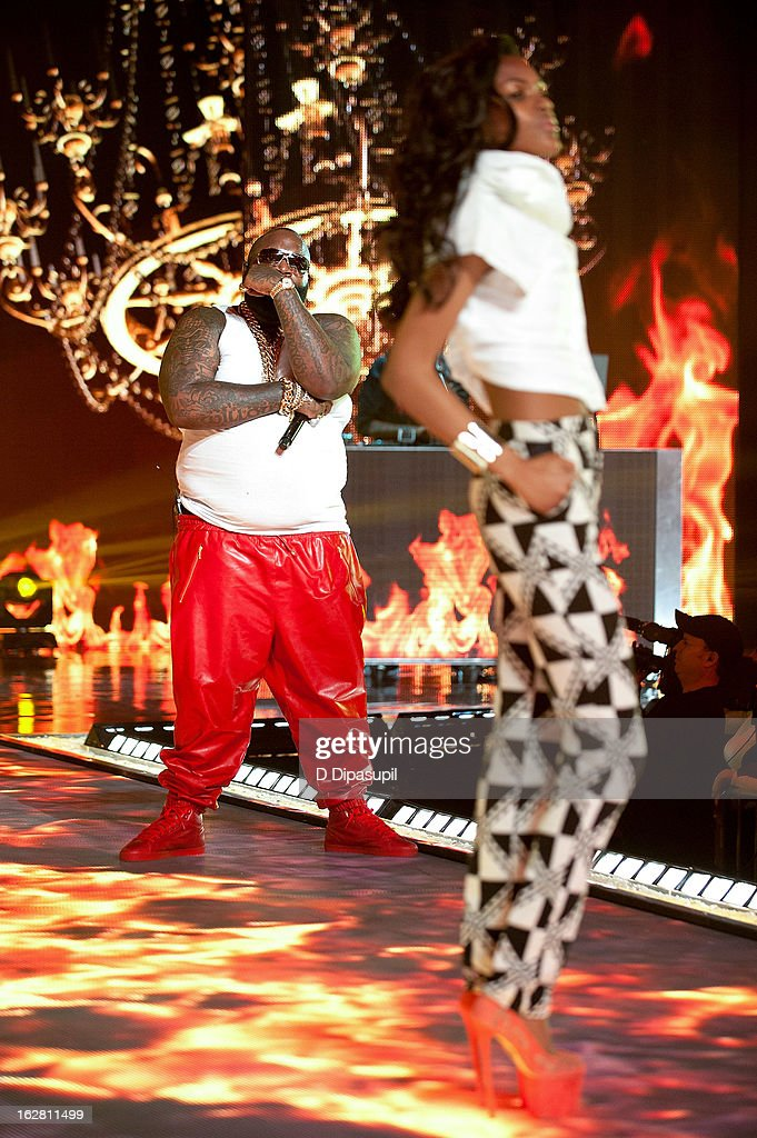 Rick Ross (L) performs during BET's Rip The Runway 2013 at Hammerstein Ballroom on February 27, 2013 in New York City.