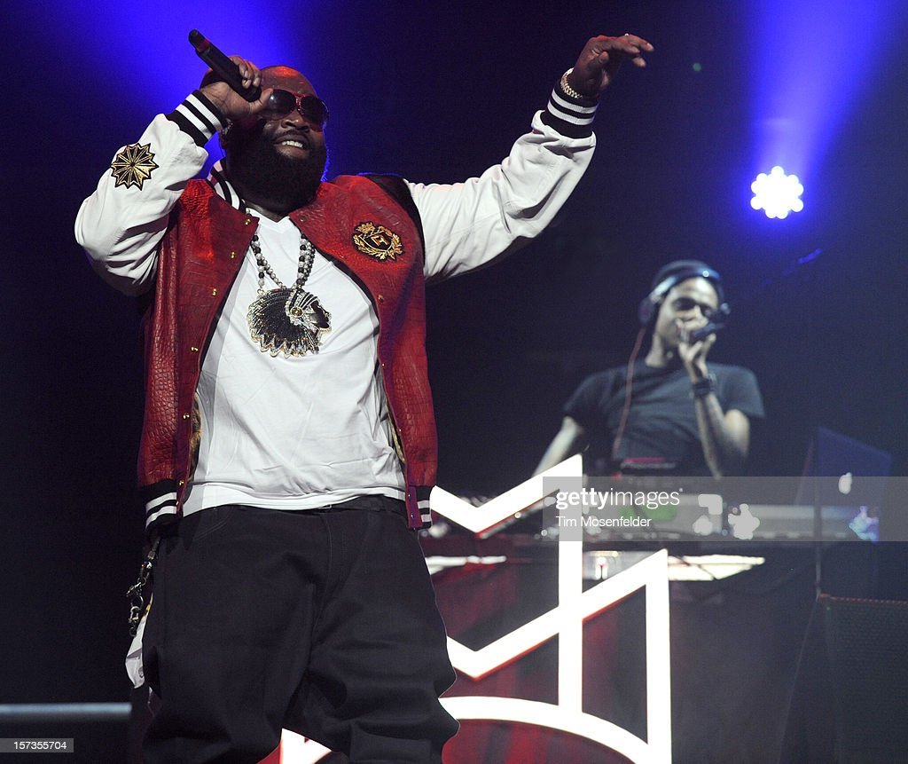 Rick Ross performs part of his Maybach Music Group Tour at Sleep Train Arena on December 11, 2012 in Sacramento, California.