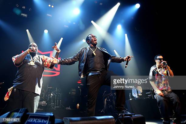 Rick Ross Sean 'Diddy' Combs and French Montana perform at Club Nokia on August 14 2013 in Los Angeles California