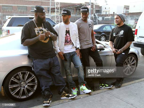 Rick Ross Swizz Beatz NBA player John Wall and Director Spiff TV seen outside their 'Reebok Back' video shoot on June 6 2011 in the Brooklyn borough...
