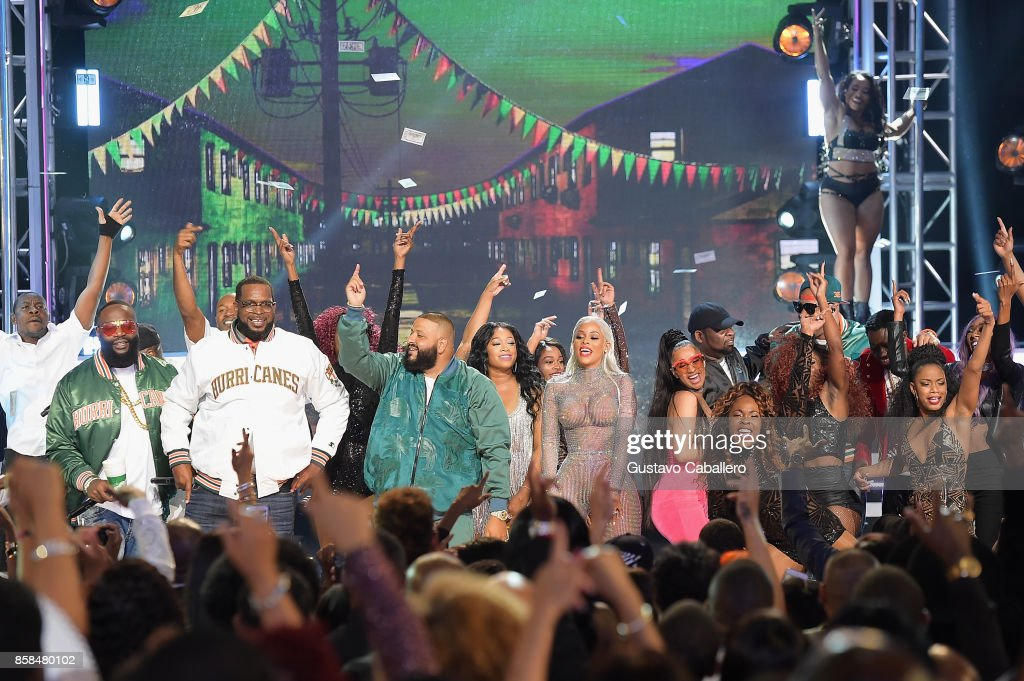 Rick Ross, Uncle Luke, Dj Khaled, Trina, Keyshia Ka'Oir, Cardi B, and Flo Rida perform onstage during the BET Hip Hop Awards 2017 at The Fillmore Miami Beach at the Jackie Gleason Theater on October 6, 2017 in Miami Beach, Florida.