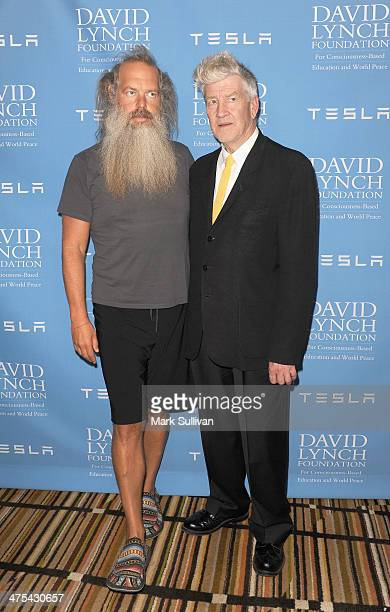 Rick Rubin and David Lynch attend The David Lynch Foundation Award Gala honoring Rick Rubin at Regent Beverly Wilshire Hotel on February 27 2014 in...