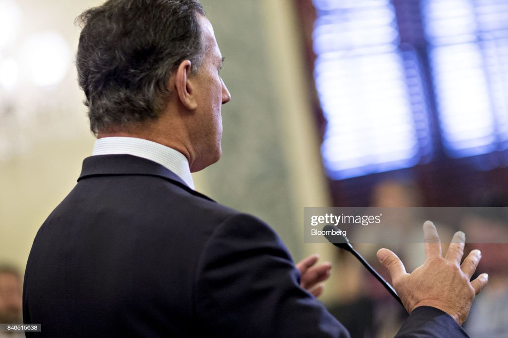 Rick Santorum, former senator from Pennsylvania, speaks during a news conference to reform health care on Capitol Hill in Washington, D.C., U.S., on Wednesday, Sept. 13, 2017. The Graham-Cassidy-Heller-Johnson (GCHJ) proposal repeals the structure of Obamacare and replaces it with a block grant given annually to states to help individuals pay for health care. Photographer: Andrew Harrer/Bloomberg via Getty Images