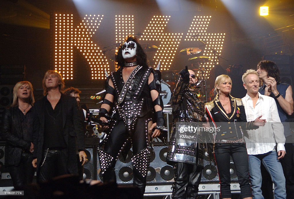 Rick 'Sav' Savage and Joe Elliott of Def Leppard, Gene Simmons of KISS, Rob Halford of Judas Priest, host Jaime Pressly, Phil Collen of Def Leppard and Scott Travis of Judas Priest