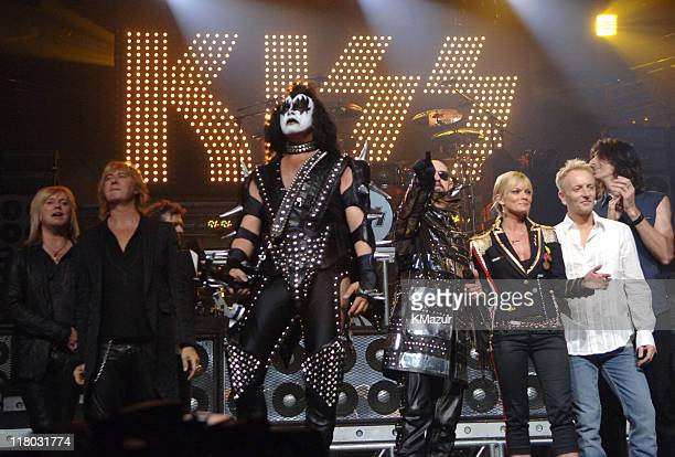 Rick 'Sav' Savage and Joe Elliott of Def Leppard Gene Simmons of KISS Rob Halford of Judas Priest host Jaime Pressly Phil Collen of Def Leppard and...