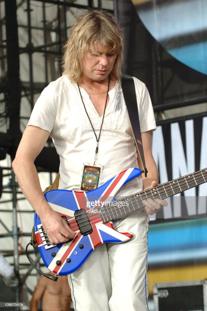 Rick Savage of Def Leppard during LIVE 8 - Philadelphia - Rehearsals at Philadelphia Museum of Art in Philadelphia, Pennsylvania, United States.