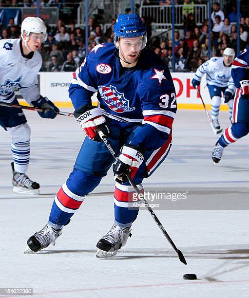 Rick Schofield of the Rochester Americans carries the puck during AHL action against the Toronto Marlies at the Ricoh Coliseum October 13 2012 in...