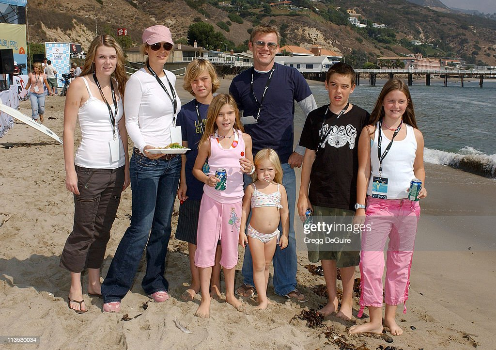 Rick Schroder and family members during The Rip Curl Malibu Pro Hosts 'Celebrity Surf 'Bout' Arrivals at Malibu Surfrider Beach in Malibu California...