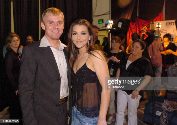 Rick Schroder and Gretchen Wilson during 2005 CMT Music Awards Backstage at Gaylord Entertainment Center in Nashville Tennessee United States