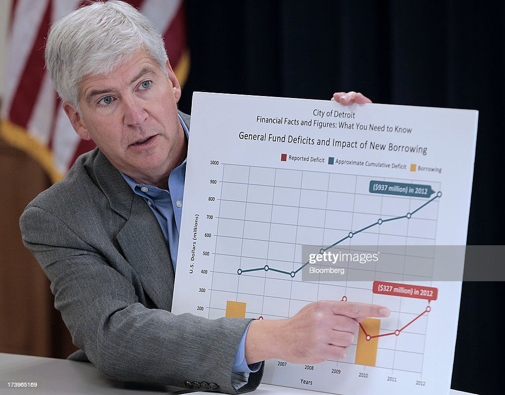 <a gi-track='captionPersonalityLinkClicked' href=/galleries/search?phrase=Rick+Snyder&family=editorial&specificpeople=7431421 ng-click='$event.stopPropagation()'>Rick Snyder</a>, governor of Michigan, speaks during an event in Detroit, Michigan, U.S., on Thursday, Feb. 21, 2013. Detroit became the biggest U.S. city to file for bankruptcy on July 18, 2013, seeking court protection from creditors while it tries to eliminate a budget deficit and cut long-term debt. Photographer: Jeff Kowalsky/Bloomberg via Getty Images