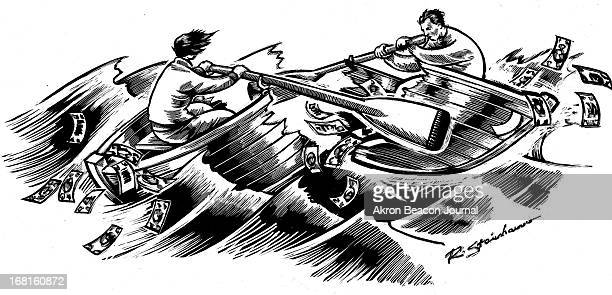 Rick Steinhauser BW illustration of couple rowing in a rowboat that is breaking up dollar bills are flying around in the air Can be used with stories...