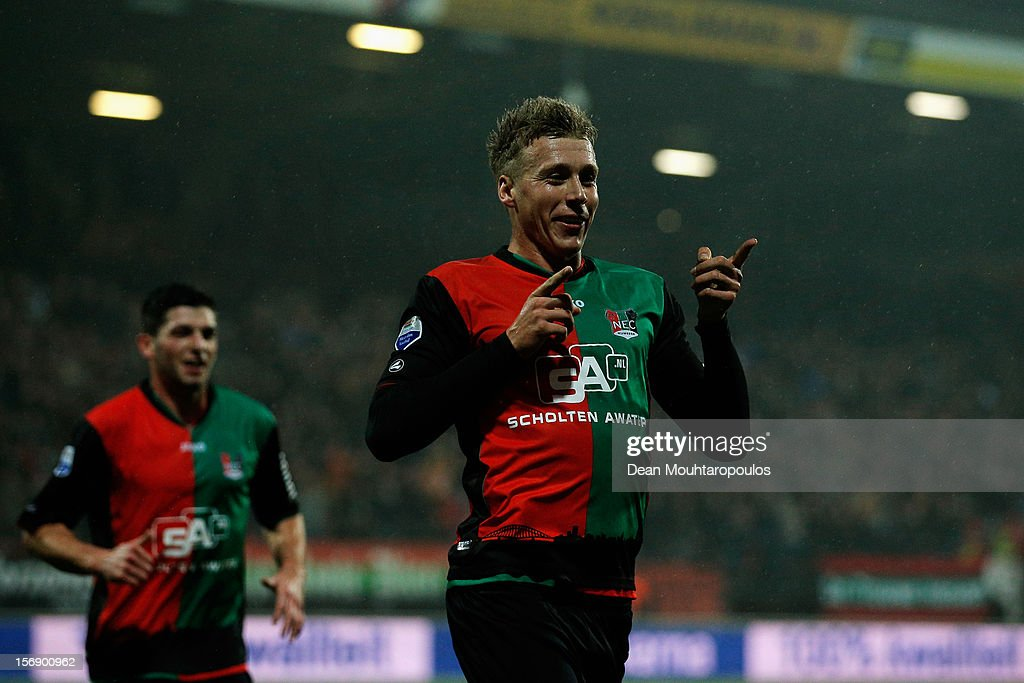 Rick ten Voorde of NEC celebrates scoring the first goal of the game during the Eredivisie match betwee NEC Nijmegen and FC Utrecht at the McDOS Goffertstadion on November 24, 2012 in Nijmegen, Netherlands.