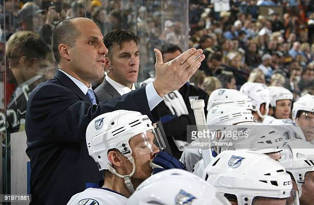 Rick Tocchet head coach of the Tampa Bay Lightning argues with the ref against the Pittsburgh Penguins on October 17 2009 at Mellon Arena in...