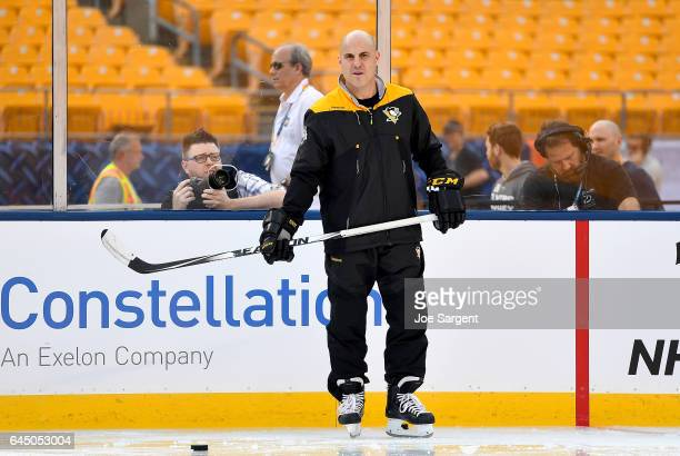Rick Tocchet of the Pittsburgh Penguins looks on at Heinz Field on February 24 2017 in Pittsburgh Pennsylvania