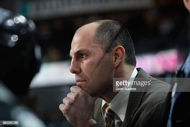 Rick Tocchet of the Tampa Bay Lightning coaches from the bench against the Anaheim Ducks at the St Pete Times Forum on January 29 2010 in Tampa...