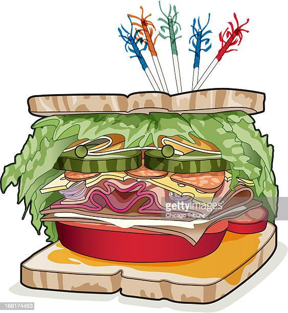 Rick Tuma color illustration of a big sandwich made with bread lettuce pickles tomato cheese etc
