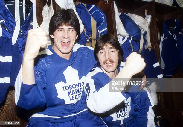 Rick Vaive and Bill Derlago of the Toronto Maple Leafs pose in the locker room in February 1981