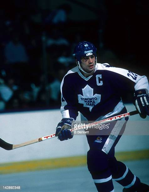 Rick Vaive of the Toronto Maple Leafs skates on the ice during an NHL game against the New York Islanders on March 9 1985 at the Nassau Coliseum in...