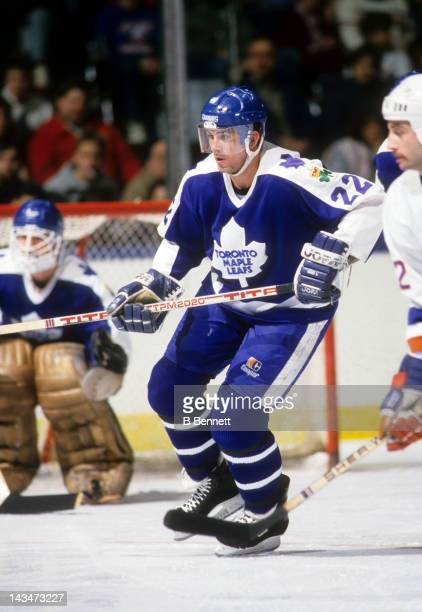 Rick Vaive of the Toronto Maple Leafs skates on the ice during an NHL game against the New York Islanders circa 1987 at the Nassau Coliseum in...