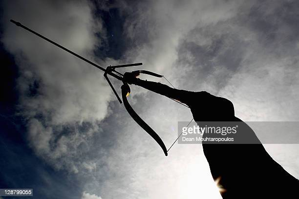 Rick van den Oever of Netherlands in action on the practice range during the London Archery Classic at Lord's Cricket Ground on October 9 2011 in...