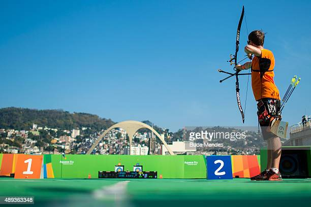 Rick Van Der Ven of Netherlands prepares to shoot during the Archery test event for the Rio 2016 Olympic Games at Sapucai Sambodrome on September 20...