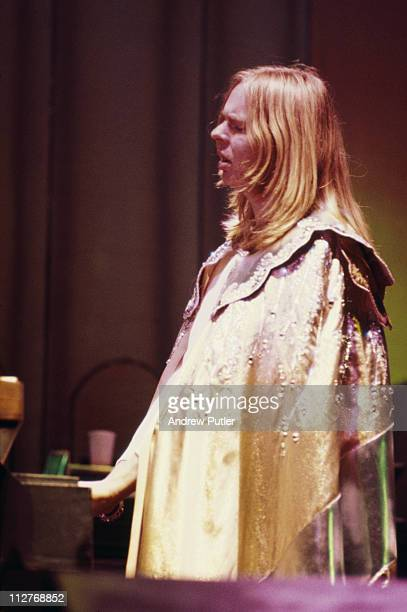 Rick Wakeman British keyboard player with progressive rock band Yes on stage wearing a cape during a live concert performance at the New Victoria...