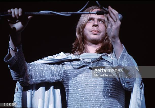 Rick Wakeman performs on stage during his King Arthur on Ice stage show Wembley Empire Pool London May 1975