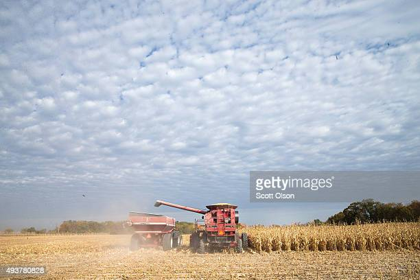 Rick Wirt and his daughte rKrista Kempke harvest corn on October 22 2015 near Burlington Iowa Wirt and his daughter farm more than 2000 acres in the...