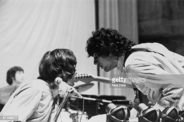 Rick Wright and Syd Barrett of British psychedelic rock group Pink Floyd confer during rehearsals at the Queen Elizabeth Hall in London 12th May 1967...