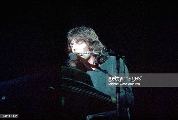 Rick Wright of Pink Floyd onstage at the Sports Arena in April 1975 in Los Angeles California
