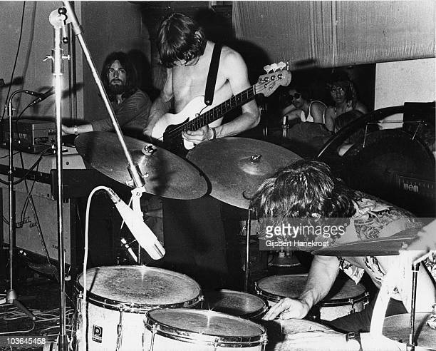 Rick Wright Roger Waters and Nick Mason of Pink Floyd perform on stage in Novemeber 1971 in Rotterdam Netherlands