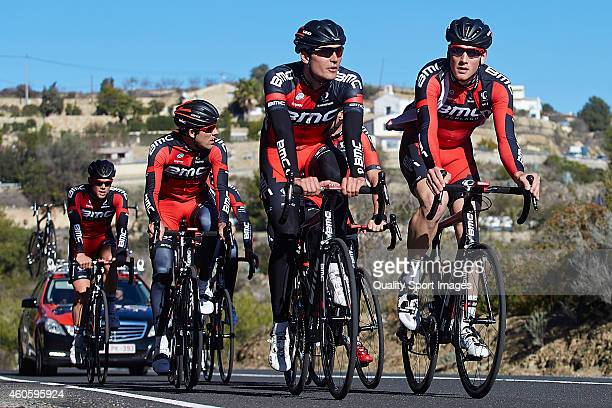 Rick Zabel and Stephen Cummings of BMC Racing team ride during the training session of the BMC Racing team on December 17 2014 in Alicante Spain