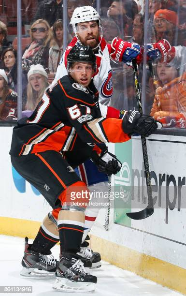 Rickard Rakell of the Anaheim Ducks and Shea Weber of the Montreal Canadiens battle for position during the first period of the game at Honda Center...