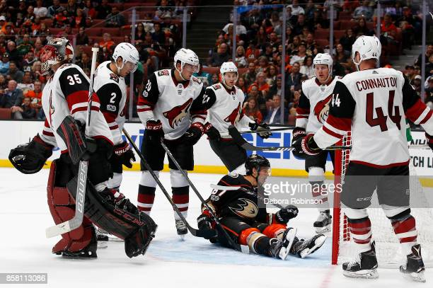 Rickard Rakell of the Anaheim Ducks battles against the Arizona Coyotes during the game on October 5 2017 at Honda Center in Anaheim California