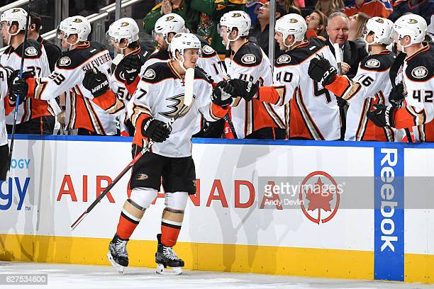 Rickard Rakell of the Anaheim Ducks celebrates after a goal during the game against the Edmonton Oilers on December 3 2016 at Rogers Place in...