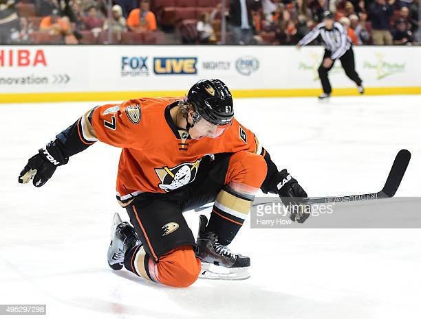 Rickard Rakell of the Anaheim Ducks celebrates his goal to take a 10 lead over the Nashville Predators during the first period at Honda Center on...