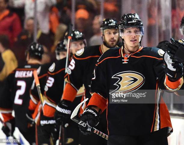 Rickard Rakell of the Anaheim Ducks celebrates his goal to tie the score 22 with the Calgary Flames during the second period in Game One of the...