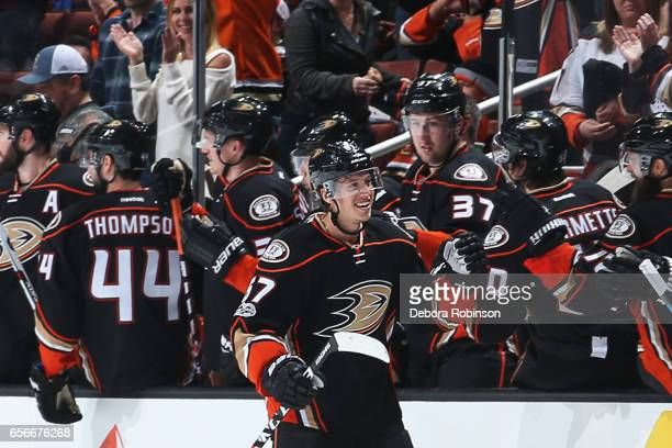 Rickard Rakell of the Anaheim Ducks celebrates his second period goal during the game against the Edmonton Oilers on March 22 2017 at Honda Center in...