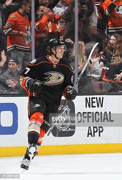 Rickard Rakell of the Anaheim Ducks celebrates his winning goal in overtime against the Edmonton Oilers on February 26 2016 at Honda Center in...