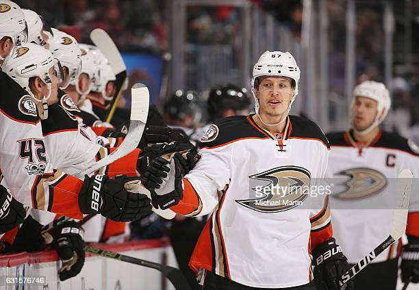 Rickard Rakell of the Anaheim Ducks celebrates with his bench after scoring a goal against the Colorado Avalanche at the Pepsi Center on January 12...