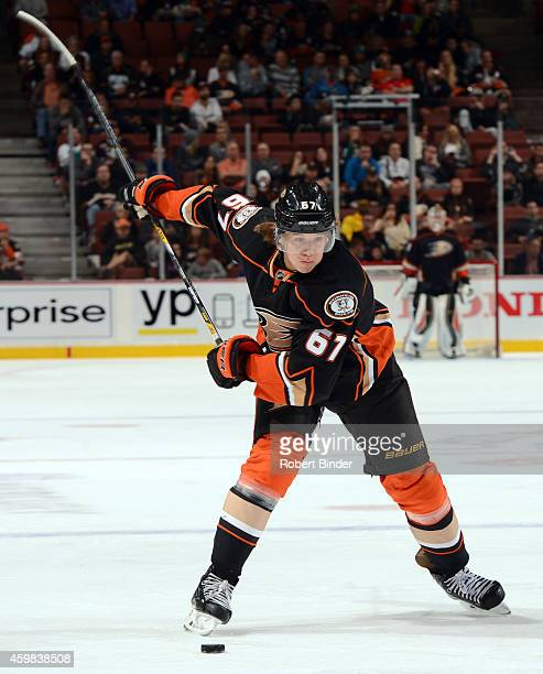 Rickard Rakell of the Anaheim Ducks gets ready to fire the slap shot against the Florida Panthers on November 16 2014 at Honda Center in Anaheim...
