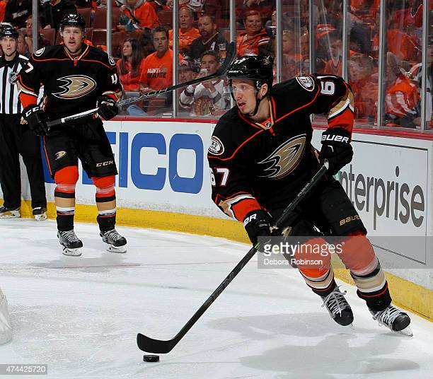 Rickard Rakell of the Anaheim Ducks handles the puck against the Chicago Blackhawks in Game One of the Western Conference Finals during the 2015 NHL...