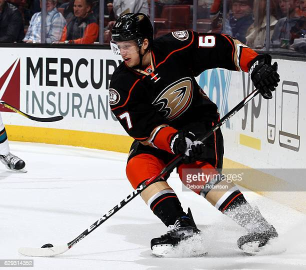 Rickard Rakell of the Anaheim Ducks handles the puck during the game against the San Jose Sharks on December 9 2016 at Honda Center in Anaheim...