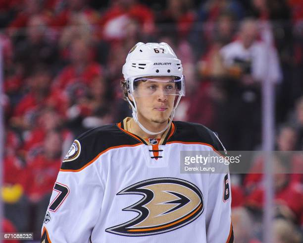 Rickard Rakell of the Anaheim Ducks in action against the Calgary Flames in Game Four of the Western Conference First Round during the 2017 NHL...