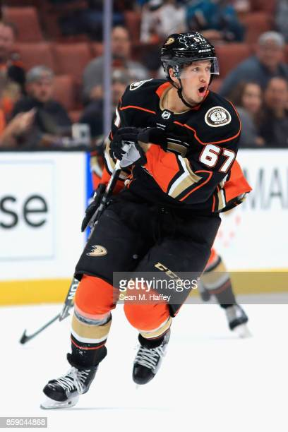 Rickard Rakell of the Anaheim Ducks look son during the third period of a preseason game against the San Jose Sharks at Honda Center on September 28...