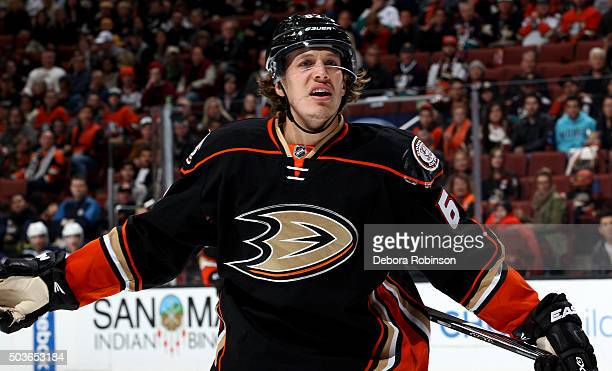 Rickard Rakell of the Anaheim Ducks looks on during the game against the Winnipeg Jets on January 3 2016 at Honda Center in Anaheim California