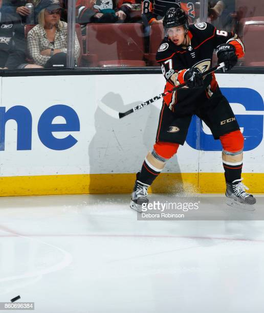 Rickard Rakell of the Anaheim Ducks passes the puck during the game against the Philadelphia Flyers on October 7 2017 at Honda Center in Anaheim...