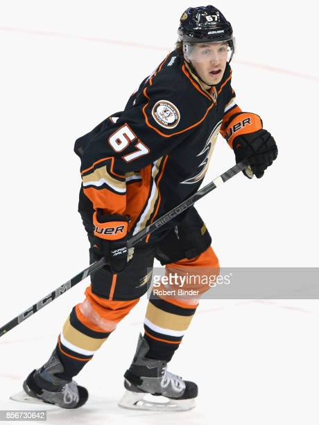 Rickard Rakell of the Anaheim Ducks plays in a game against the Toronto Maple Leafs at Honda Center on January 14 2015 in Anaheim California