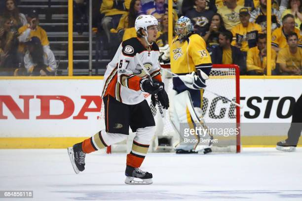 Rickard Rakell of the Anaheim Ducks reacts after scoring a goal against Pekka Rinne of the Nashville Predators during the first period in Game Four...