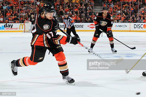 Rickard Rakell of the Anaheim Ducks releases a shot in Game One of the Western Conference Quarterfinals against the Nashville Predators during the...